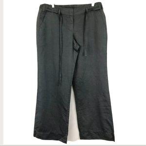 J Crew Wide Leg Linen Pants Green Sz 14 NWT